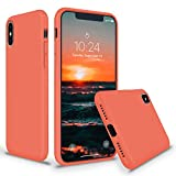 SURPHY Silicone Case for iPhone Xs Max, Thicken Liquid Silicone Shockproof Protective Case Cover (Full Body Thick Case with Microfiber Lining) Compatible with iPhone Xs Max 6.5', Nectarine