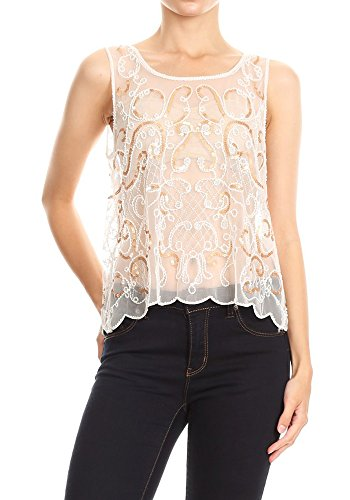 (Anna-Kaci Womens Sheer Embroidered Lace Gold Sequin Sparkly Sleeveless Tank Top, White Gold,)