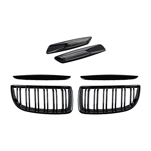 2X Euro Front Upper Kidney Grille Grill LH RH Kit Replacement for BMW Car E90 Pre-Facelift (Glossy Black, w/Carbon Fiber Pattern Side Marker)