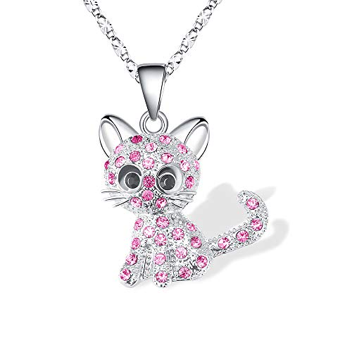 Lanqueen Kitty Cat Pendant Necklace Jewelry for Women Girls Kids, Cat Lover Gifts Daughter Loved Necklace 18+2.3 inch Chain