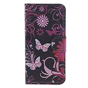 QHY Butterflies and Flowers Pattern PU Full Body Case with Stand and Card Slot for iPhone 5C