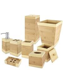 Kovot Bamboo Bathroom Accessories Set (8 Piece)