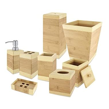 Kovot Bamboo Bathroom Accessories Set (8-Piece)