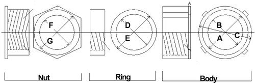 1-1//2 Thread Size 1-1//2 Thread Size Morris Product Morris 14444 Malleable Rigid 3 Piece Coupling