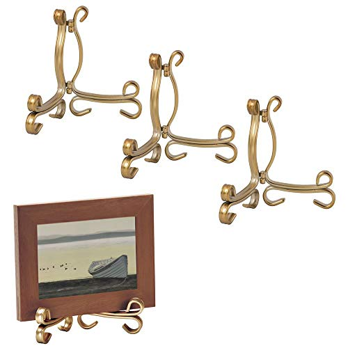 mDesign Decorative Metal Display Easel, Cookbook Holder, and Plate Stand for Kitchen and Household Storage of Tablets, Books, Plates, Pictures, Displays - Small - 4 Pack - Aged Brass (Brass Holders Plate)