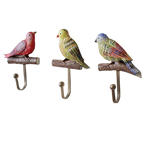 Gentle Meow Set of 3 Stainless Steel Utility Wall Hooks Crooks Colorful Birds