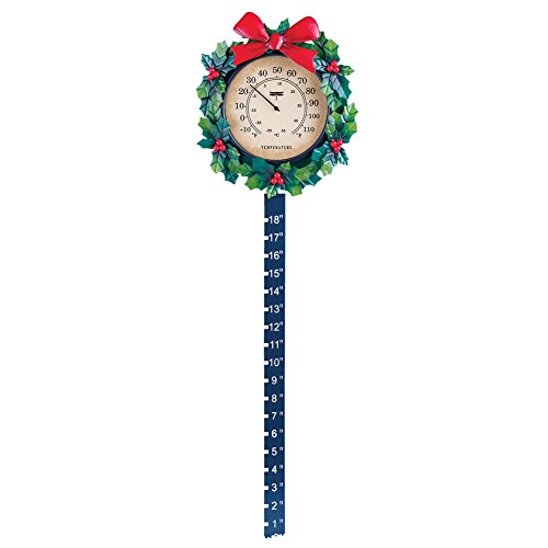Collections Etc Wreath Outdoor Thermometer Snow Gauge Christmas Decoration for $<!--$14.96-->