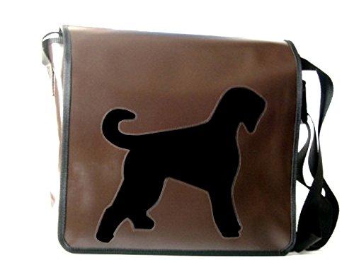 Schultertasche Hundemotiv Schwarz Russischer Terrier H 32, B 36, T 11 cm