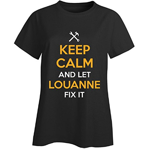 Victual Calm and Let Louanne Fix It Cool Gift - Ladies T-Shirt Black Ladies M