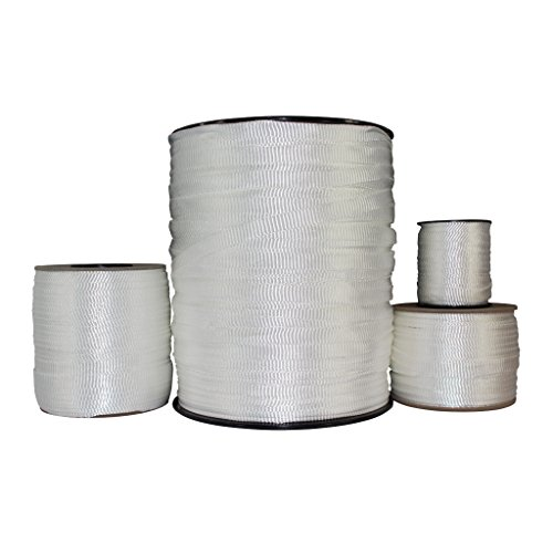 Polyester Pull Tape (5/8 inch) - SGT KNOTS - Professional Grade Pre-Lubricated Polyester Mule Webbing - Lightweight Flat Rope - Crafting, Commercial Electrical, Tie Downs, More (100 ft - White) ()