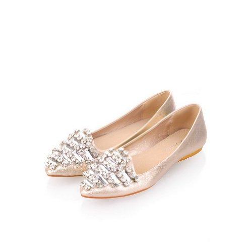 Weipoot Damesschoenen Met Gesloten Punt Microvezel Zacht Materiaal Solide Flats Met Glas Diamant Goud