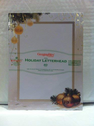 Geographics GeoPaper Foil Holiday Letterhead Ornaments and Streamers 40 count - Foil Geographics