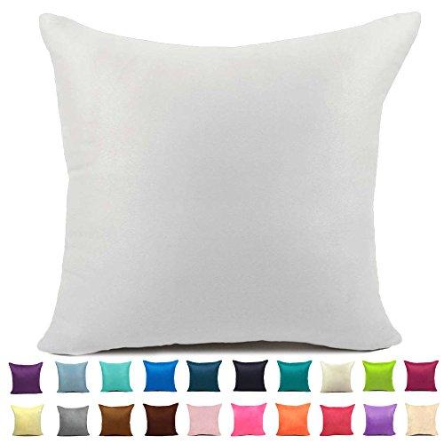 Easondea Cushion Covers Plain Suede Sofa Bed Home Car Decoration Solid Luxury Pillow Case White 14