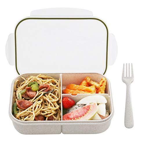Bento Box,Bento Box for Kids, Leakproof With 3 Compartments, FDA Approved and BPA-Free Bento Lunch containers For Kids By BusyMouth (white)