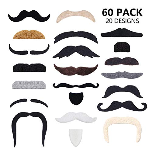 60 Pcs Fake Mustaches Self Adhesive (20 Designs) Novelty Hairy Beard Costume Facial Hair for Christmas Party Supplies