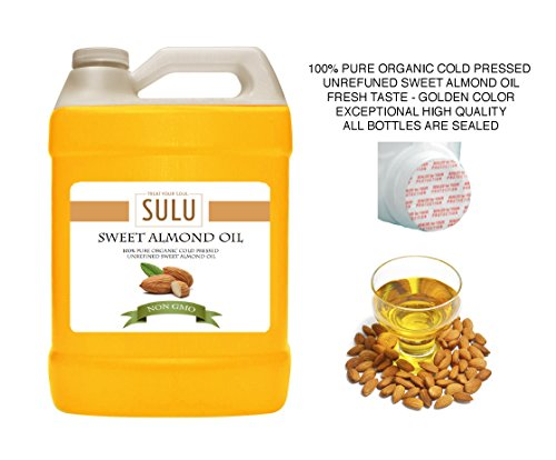 4 lbs 100% Pure Organic Unrefined Cold Pressed Sweet Almond Oil