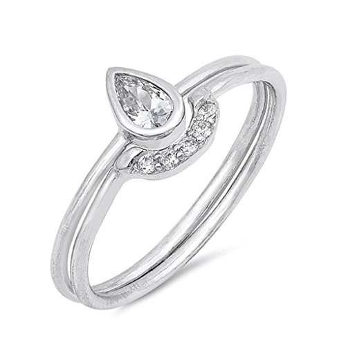 .925 Sterling Silver Teardrop Pear Shape Engagement Ring Sets Promise Band Two Pieces Size 4