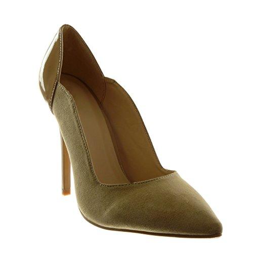 Angkorly stiletto 11 CM Stiletto verniciato Tacco decollete Moda alto donna scarpe Scarpe Beige qISnvgrIwp