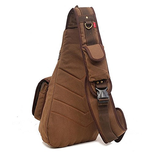 Canvas Bag Brown Retro Outdoor Messenger Simple Chest Sports Shoulder Color Zippered EAUwp