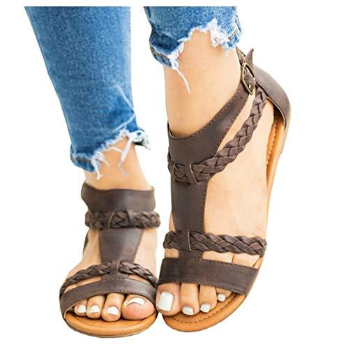 LAICIGO Women's Crisscross Strappy Cutout Gladiator Thong Flat Sandal