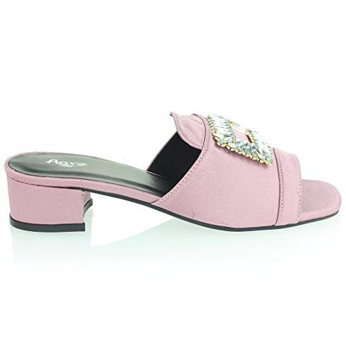 Mujer Señoras Broche Detalle Diamante Ponerse Tacón de Bloque Noche Casual Fiesta Sandalias Zapatos Tamaño Rosa