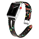 Kaome Leather Band Compatible for Apple Watch Band 40mm 38mm, Slim Elegant Strap, Women Replacement Bands for iWatch Series 4, Series 3, Fashionable Feminine Breathable Slit Floral Design-Charm Peony