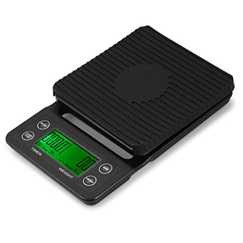 Puyujin Portable Drip Coffee Scale With Timer, 3kg/6lb x 0.1g/0.2lb, Electronic Digital Kitchen Scale (Black) ()
