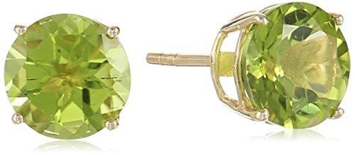 10k Yellow Gold Peridot Round Stud Earrings