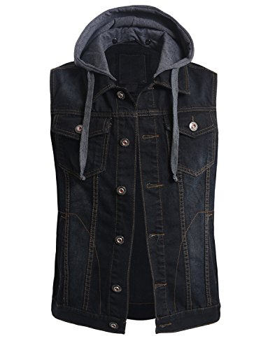OLLIN1 Mens Casual Denim Vest Jacket with Hoodie(OLNMV424_BLACK,XL) by OLLIN1