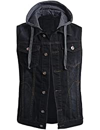 Mens Casual Denim Vest Jacket with Hoodie