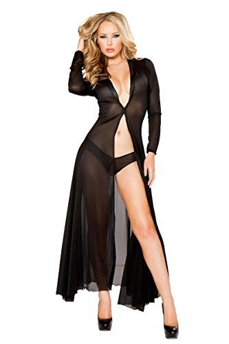 Roma Women's Plus-Size 2 Piece Long Sheer Robe with Hooks and Mesh Shorts, Black, 1X/2X