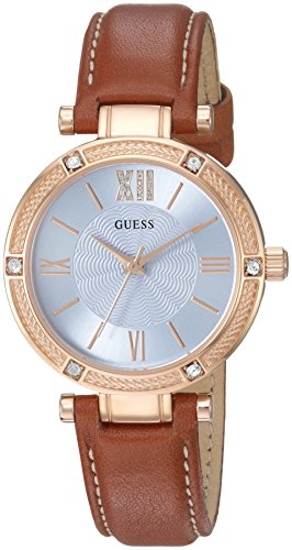GUESS Women's U0838L2 Dressy Rose Gold-Tone Watch with Blue Dial , Crystal-Accented Bezel and Genuine Leather Strap (Gold Tone Blue Dial)