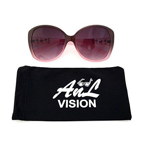 AnL Vision Triple Glitter Heart Temple Sunglasses (Brown/Light Pink, Gradient Brown)