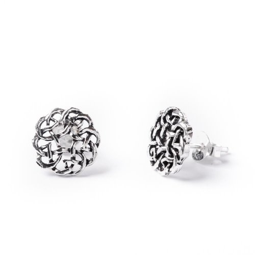 81stgeneration Women's .925 Sterling Silver Celtic Eternal Knot Shield Studs Earrings