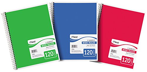 043100057468 - Mead Spiral Notebook, 3-Subject, Wide-Ruled, COLOR MAY VARY (05746) carousel main 3
