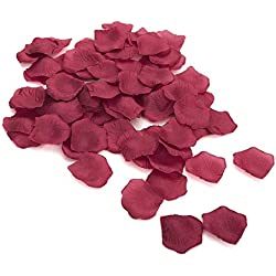 Best Quality 1000 pcs Silk Rose Petals Wedding Party Decorations Flower Favors (Burgundy)