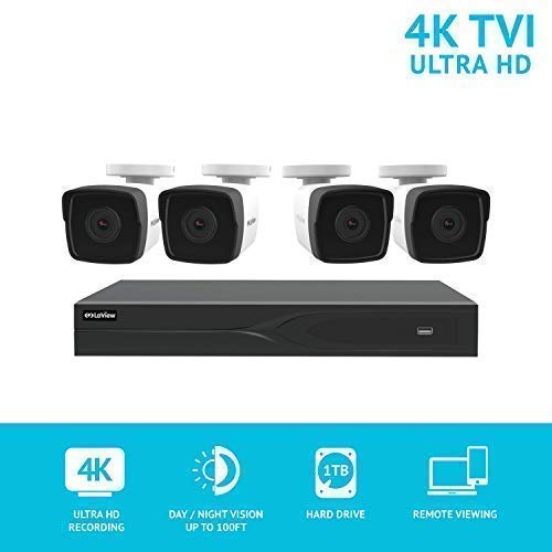LaView 8 Channel Ultra HD 4K Home Security Camera System with 4 8MP IP Bullet Cameras, 100ft Night Vision, Weatherproof Expandable Surveillance Camera System DVR 1TB HDD