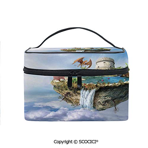 Island Light Tower - Lightweight Cosmetic Travel Bag Beauty Toiletry Bag Island with Dragon Castle Tower Waterfall and Flipped Mountain is Flying In Space Portable Multi-function Organizer