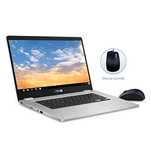 "Asus Chromebook C523 15.6"" FHD NanoEdge Touchscreen, Intel Quad Core Pentium Processor, 4GB RAM, 64GB eMMC Storage, Silver Color, Optical Mouse Included, Chrome OS, C523NA-IH24T"