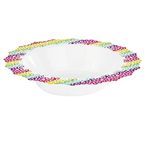 Elegant Disposable Plastic Dinnerware - White Soup/Salad Bowl with Colorful Lace Trim - Hard & Reusable, Real China Look Party Plates - 7.5