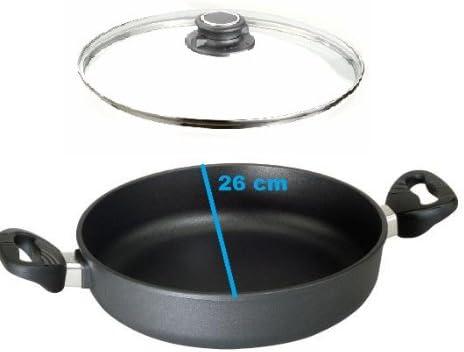 Safety Glass Lid Ø 20 cm by 32 CM-H 5cm Eurolux Cast Flat Pan incl