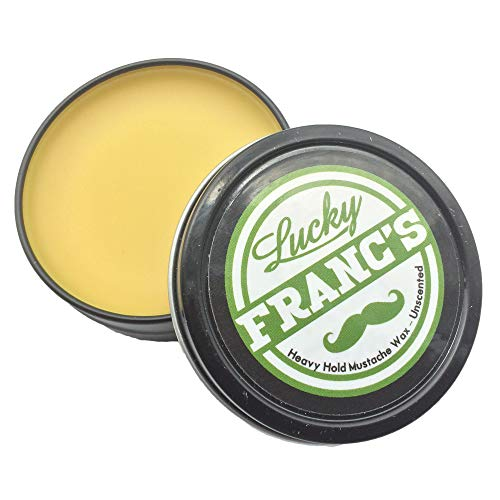 Mustache Wax. Large 2oz. Tin. Strong Tacky Hold Unscented. Scent Free for Handlebar Any Moustache Style! Natural & Made in US. Works as Beard Wax! Stache Training Growth & Care *Lucky Franc