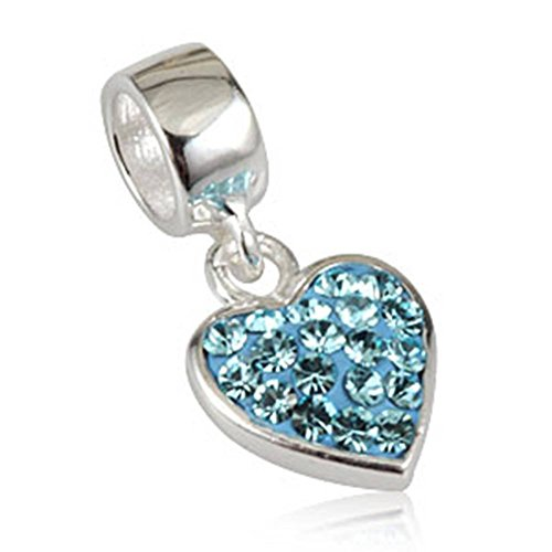 Choruslove Aquamarine Blue Love Heart Dangle with Austrian Crystal March Birthstone 925 Sterling Silver Pendant Bead Fits Valentines European Charm Bracelet or Necklace