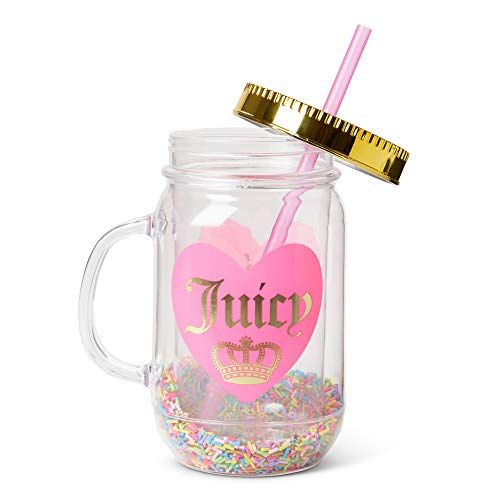 Fun Mason Jar Plastic Cups: Large Break Resistant, BPA Free To-Go Mug with Lid and Handle - Perfect as Party Cups, Kids Travel Cups, Wedding Party Cups (Juicy w/Sprinkles, Single)