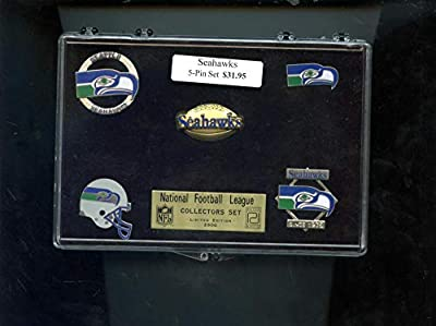 Seattle Seahawks Football NFL Hat Pin Complete Set Peter David Button Box Case
