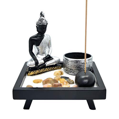 HOMELEX Zen Rock Garden, Buddha Sculpture Bell Rake Sand Candle Incense Burner Tray Gift (SCZ-03)