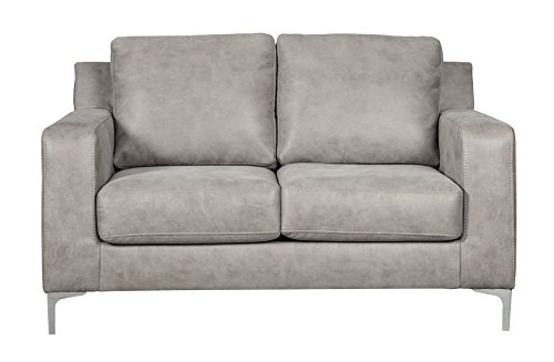 Leather Sofa Loveseat Faux (Ashley Furniture Signature Design - Ryler Contemporary Upholstered Loveseat - Steel)