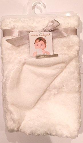 Blankets & Beyond Rosette White Super Soft Baby Blanket 30x30