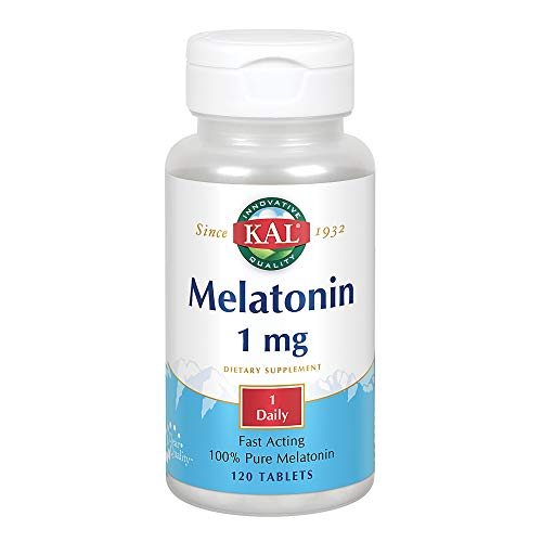 KAL Melatonin 1mg | 100% Pure | Healthy Relaxation Support | Fast-Acting Vegetarian Formula | Lab Verified | 120 Tablets For Sale