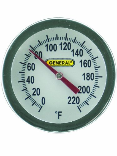 General Tools PT2020G-220 Analog Soil and Composting Dial Thermometer, Long Stem 20 Inch Probe, 0 to 220 degrees Fahrenheit (-18 to 104 degrees Celsius) Range ()